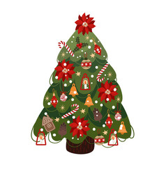 decorated christmas tree isolated cartoon vector image