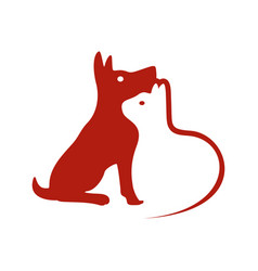 Dog and cat negative space symbol logo design vector