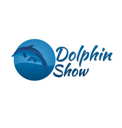 dolphinarium dolphin logo banner flat vector image