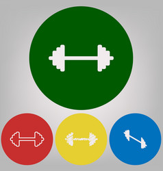dumbbell weights sign 4 white styles of vector image vector image