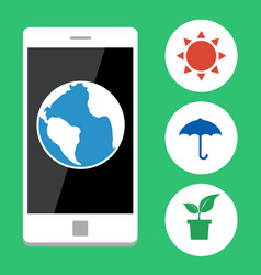 Ecology with mobile phone vector