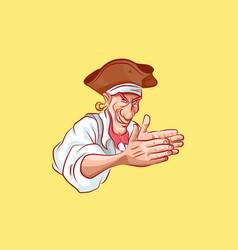Emoji sticker seaman captain cunning rubbing hands vector
