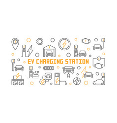 Ev charging station in thin vector