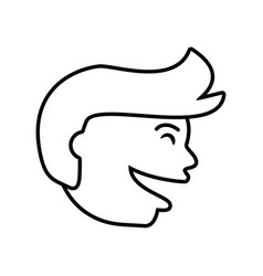 Face guy happy outline vector