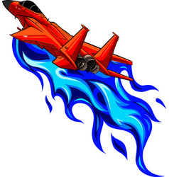 Fiery military red fighter jets vector