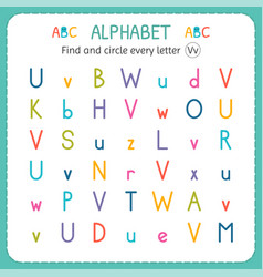 Find and circle every letter v worksheet vector