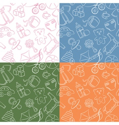 Four cute doodle baby seamless patterns vector image