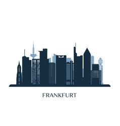 Frankfurt skyline monochrome silhouette vector