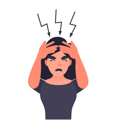 frustrated woman with headache vector image