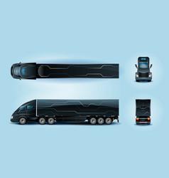 Futuristic semi trailer truck realistic set vector