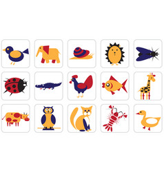 geometric icons animals insects and birds vector image