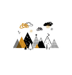 golden abstract christmas winter scene christmas vector image