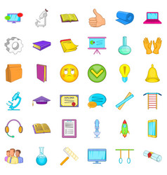 Good learning icons set cartoon style vector