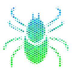 Halftone blue-green mite tick icon vector