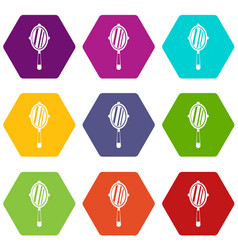 Hand mirror icon set color hexahedron vector