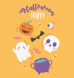 happy halloween funny pumpkin skull bat cauldron vector image