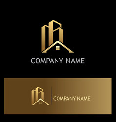 Home building realty gold company logo vector