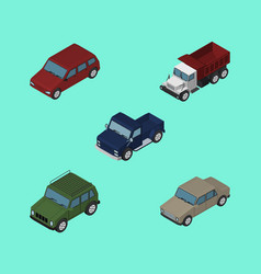 Isometric car set of suv freight car and other vector