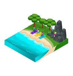 Isometrics outdoor recreation rocky mountains vector
