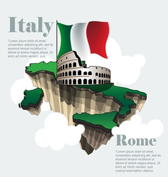 Italy country infographic map in 3ds italy vector