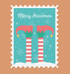 leprechaun legs celebration happy christmas stamp vector image