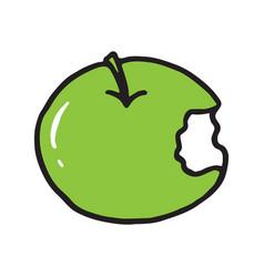 Line drawing cartoon doodle juicy bitten apple vector