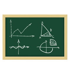 mathematical abstract charts sketch on chalkboard vector image