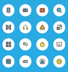 media icons colored line set with speaker eject vector image