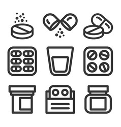 medicine and pills line style icon set vector image