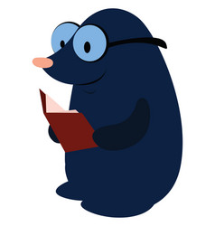 Mole reading book on white background vector