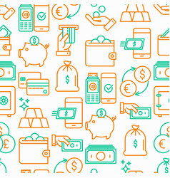 money seamless pattern with thin line icon vector image