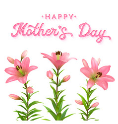 mothers day greeting card with pink lilies vector image
