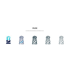 Muse icon in different style two colored and vector