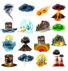 Natural disasters set vector