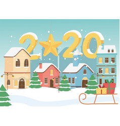 new year 2020 greeting card town sled gifts snow vector image