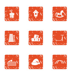 New year holiday icons set grunge style vector