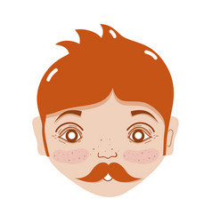 nice man face with mustache and hairstyle vector image