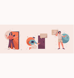 onboarding isolated scenes set getting to know vector image