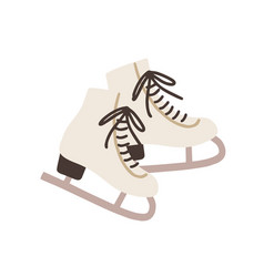 Pair female ice skates hockey shoes with tied vector