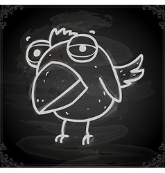Parrot cartoon drawing on chalk board vector