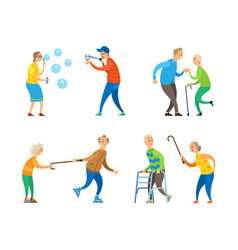pensioners activity old man and woman set vector image