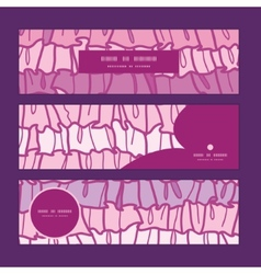 Pink ruffle fabric stripes horizontal banners set vector
