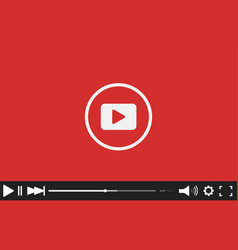 Red flat video player bar template for your design vector