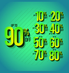 Sale discount up to 90 off set template design vector