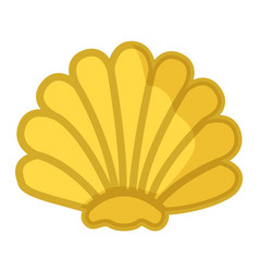 Sea shell yellow in semicircular form mollusk vector