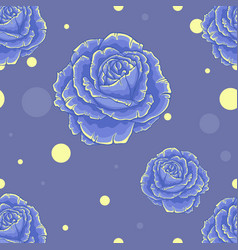 Seamless blue pattern with roses vector