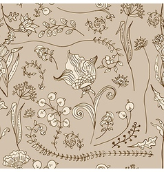 Seamless doodle tender floral background vector image