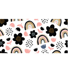 Seamless pattern with colorful flowers and rainbow vector