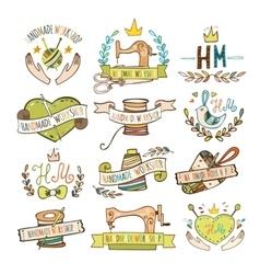 set hand drawn logos vector image