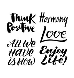 set of black and white handwritten lettering vector image